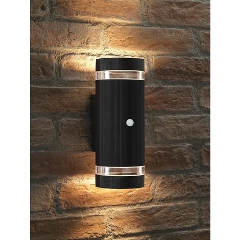 Auraglow PIR Motion Sensor Double Up & Down Outdoor Wall Security Light Black - Warm White