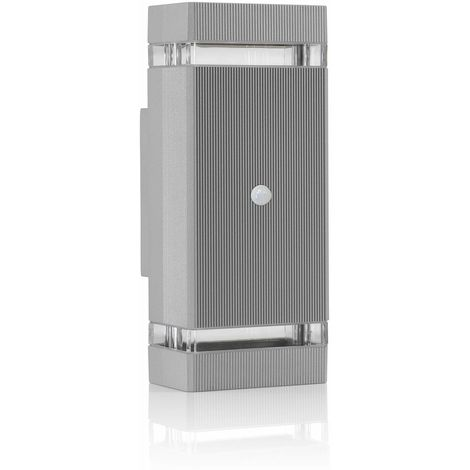 Auraglow PIR Motion Sensor Double Up & Down Outdoor Wall Security Light -Silver - Cool White