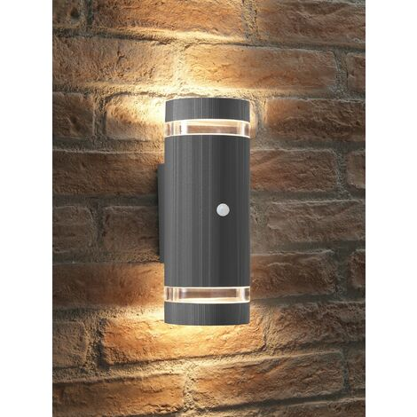 Auraglow PIR Motion Sensor Double Up & Down Outdoor Wall Security Light - Silver - Warm White