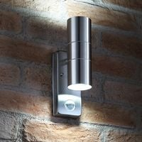 Auraglow PIR Motion Sensor Stainless Steel Security Lamp Up & Down Outdoor Wall Light - Cool White