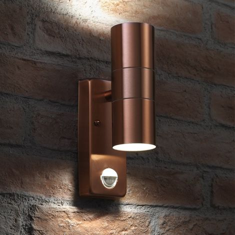 Auraglow PIR Motion Sensor Stainless Steel Up & Down Outdoor Wall Security Light - Cool White - Copper Finish
