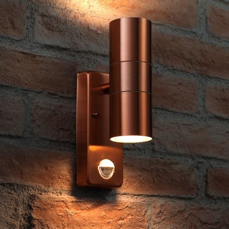 Auraglow PIR Motion Sensor Stainless Steel Up & Down Outdoor Wall Security Light - Copper - Warm White