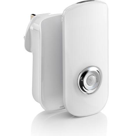 Auraglow Plug In PIR Motion Sensor LED Night Light Hallway Safety Living Aid & Emergency Torch - Warm White