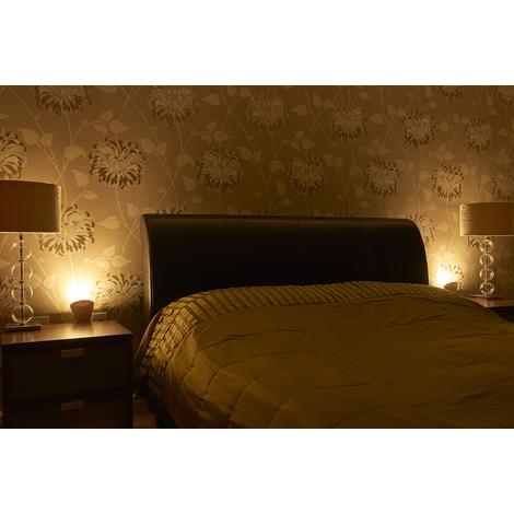Auraglow Plugin GU10 Spotlight Uplighter Wall Wash Light Plug Socket Lamp with Warm White LED Bulb