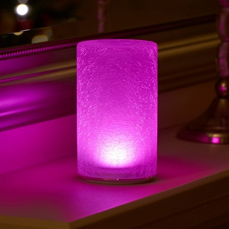 Auraglow Rechargeable Cordless Wireless Colour Changing & White Light LED Glass Table Lamp (Crackle)