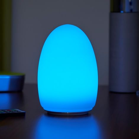 Auraglow Rechargeable Cordless Wireless Colour Changing & White Light LED Glass Table Lamp (Egg)