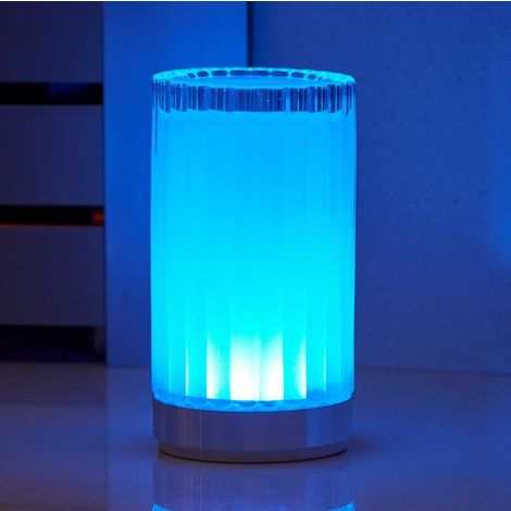 Auraglow Rechargeable Cordless Wireless Colour Changing & White Light LED Glass Table Lamp (Roman)