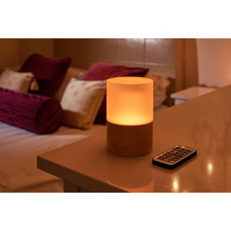 Auraglow Rechargeable Cordless Wireless Colour Changing & White Light LED Glass Table Lamp – WOODEN