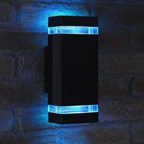 Auraglow RF Remote Control Colour Changing LED Double Up & Down Outdoor Wall Light - Black - 1 Pack