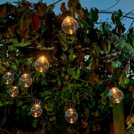 Auraglow Set of 10 Solar String Festoon Lanterns LED Fairy Lights Retro Garden Lamps