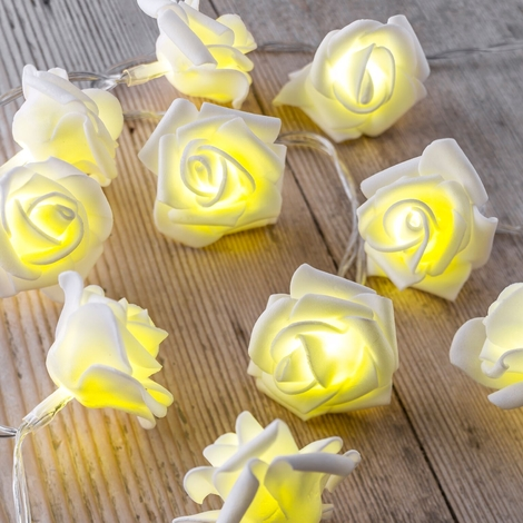 Auraglow Set of 12 Battery Operated 2.5m Indoor String LED Fairy Lights with Warm White Glow - White Rose