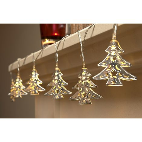 """main image of """"Auraglow Set of 15 Battery Operated Indoor Christmas LED Festive String Lights - Xmas Trees"""""""