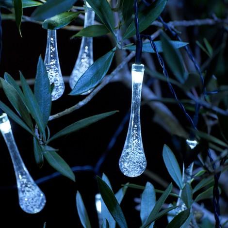 Auraglow Set of 20 Solar Crystal Teardrop Garden Outdoor LED String Lights