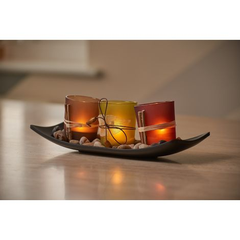 Auraglow Set of 3 Tea Light Votive Glass Candle Holders with Tray and Decorative Pebbles – Nature Zen Design, Tealights not included