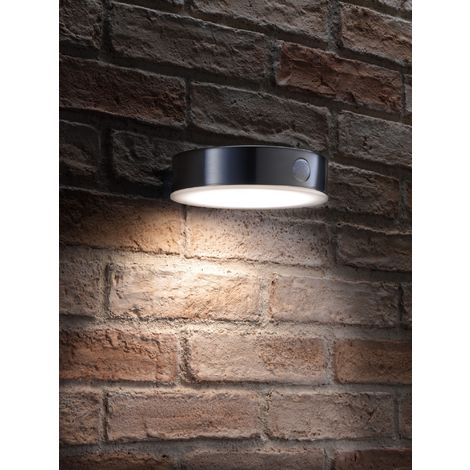 """main image of """"Auraglow Solar Powered Dusk to Dawn and PIR Sensor Wireless Outdoor Garden Security LED Wall Light in Stainless-Steel Slim Round Sconce Design"""""""