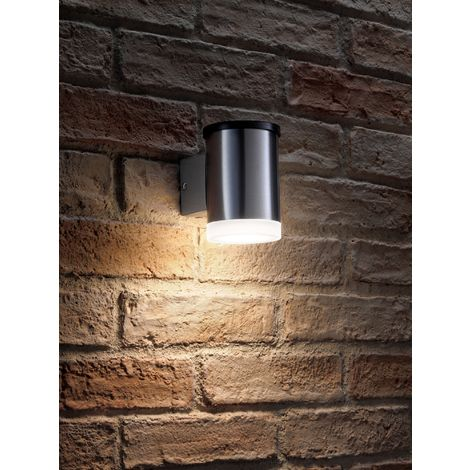 """main image of """"Auraglow Solar Powered Dusk to Dawn Wireless Outdoor Garden Security LED Wall Downlight in Stainless-Steel Cylinder Sconce Design"""""""