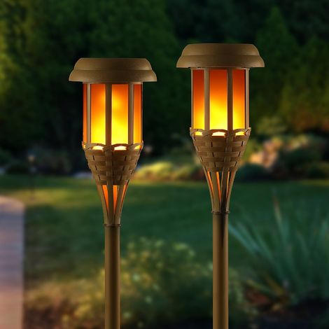 Auraglow Solar Powered Flickering Flameless Flame Lamp Bamboo Tiki Torch LED Garden Lantern Outdoor Lawn Path Post Spike Light - Set of 2