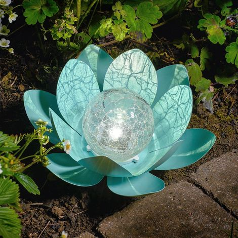 Auraglow Solar Powered Garden Metal & Glass Water Lily Lotus Flower LED Light Lantern Outdoor Table Lamp - BLUE
