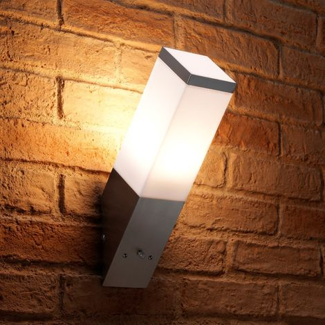 Auraglow Stainless Steel Automatic Dusk Till Dawn Sensor Angled LED Wall Light - Warm White