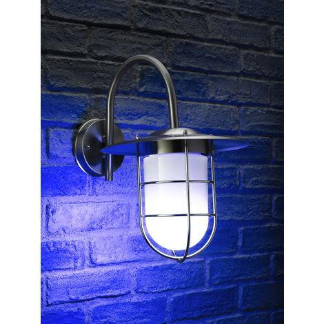 Auraglow Stainless Steel Fishermans Remote Controlled Colour Changing Wall Light