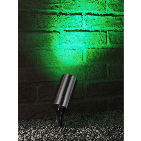 Auraglow Stainless Steel GU10 Garden Outdoor Spike Light with RF Remote Control Colour Changing LED Bulbs