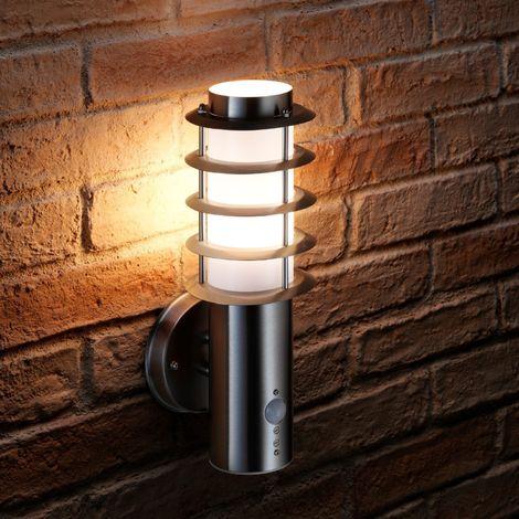 Auraglow Stainless Steel PIR Infrared Motion Sensor Outdoor LED Wall Light (Warm White)