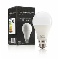 AURAGLOW Super Bright 12w LED B22 Bayonet Light Bulb, Warm White, 3000k, 1055 Lumens - 75w EQV