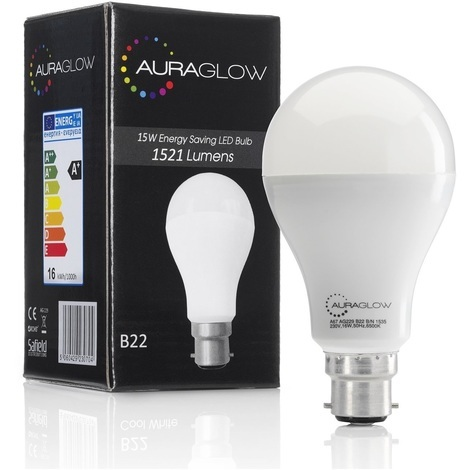 AURAGLOW Super Bright 15w LED B22 Bayonet Light Bulb, Warm White, 3000K - 1521 Lumens - 100w EQV