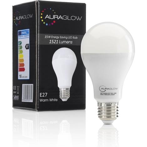 AURAGLOW Super Bright 15w LED E27 Screw Light Bulb, Warm White, 3000K - 1521 Lumens - 100w EQV