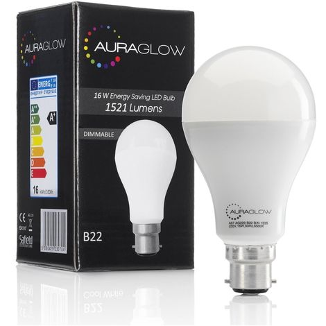 AURAGLOW Super Bright 16w LED B22 Bayonet Light Bulb, Warm White, 3000K - 1521 Lumens - 100w EQV - Dimmable