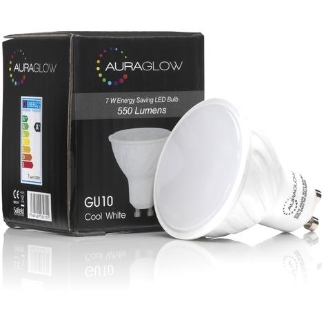 AURAGLOW Super Bright 7w LED GU10 Light Bulb, Cool White 6500k - RETROFIT - 550 lumen - 70w EQV