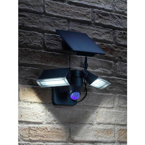 Auraglow Wireless Cordless Solar PIR Infrared Sensor Outdoor Twin Security 6W LED Flood Wall Light