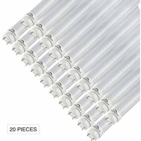 Auralum 150cm 24W T8 G13 Blanc Chaud 2800-3200K 2835*144LED 2500LM LED Lumière Fluorescente Tube avec Couverture Rayée et Starters