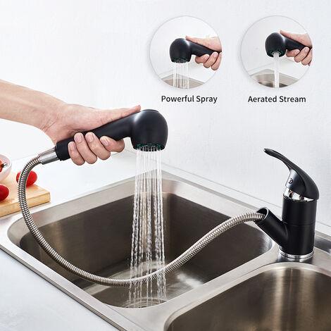 Auralum 2 Funciones Grifo de Cocina con Ducha Extraíble 50CM Negro , 360° Giratorio Grifo de Fregadero Monomando Grifería Cocina para Agua Fría y Caliente