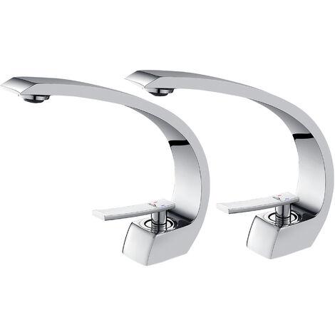 Auralum 2er Einhebelmischer Design Waschtischarmatur Wasserhahn Chrom Bad Armatur Mischbatterie Waschbeckenarmatur für Badezimmer Waschbecken