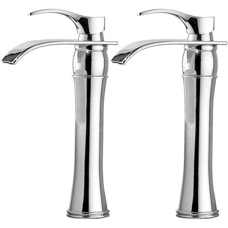 Auralum 2er Wasserhahn Bad, Chrom, Einhebelmischer Waschtischarmaturen mit Hoher Wasserfall Auslauf für Badezimmer Waschbecken
