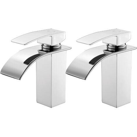 Auralum 2er Wasserhahnn Bad für Waschbecken Wasserfall Wasserhahn Küche und Bad cromo-plateada Messing