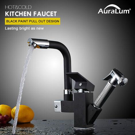 Auralum 360° drehbar Wasserhahn Küche Armatur schwarz Spültischarmatur Mischbatterie Spüle mit herausziehbarem Brause