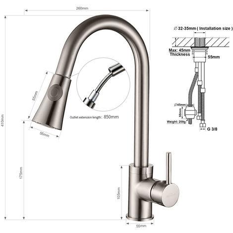 Gut bekannt Auralum 360°Drehbar Küche Wasserhahn Mischbatterie Einhandarmatur WY34