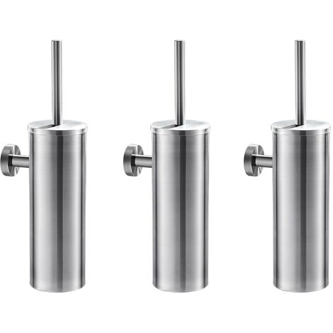 Auralum 3pcs Brosse de Toilette avec Porte-balai WC Mural inox Salle de Bains Toilettes