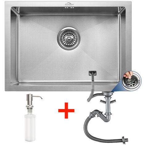 Auralum 50cm Küchenspüle Einbau Spülbecken Küchenspüle Einbauspüle Edelstahlspüle