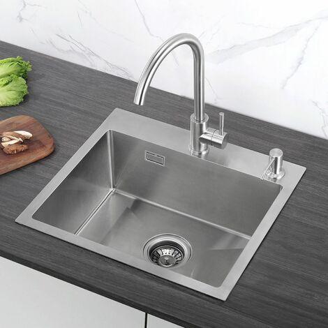 Auralum 55*45*22CM Évier de Cuisine 1 Bac en Acier Inoxydable 201 de Huate Qualité Top Design
