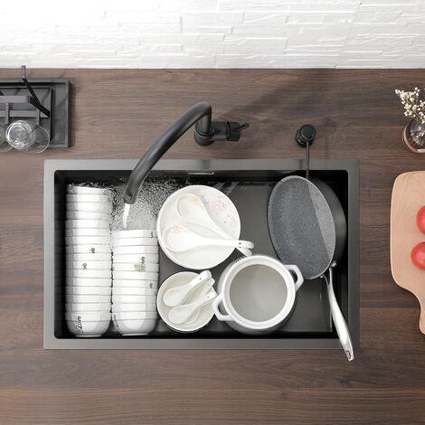 Auralum 77 x 44cm Negro Fregadero de Cocina un Seno en Acero Inoxidable Fregadero con colador, Rebosadero y Sifón