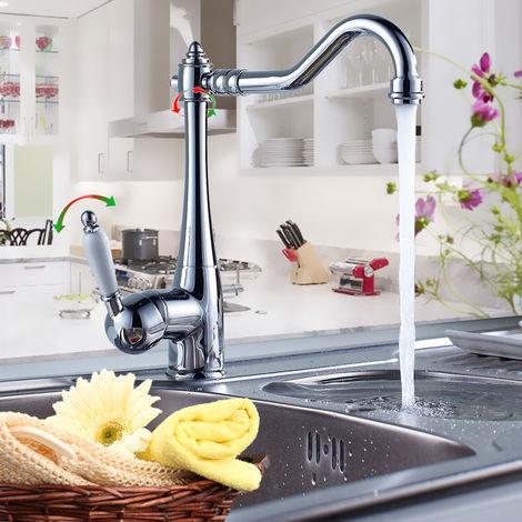 Auralum Armatur Einhebel Wasserhahn Küchenarmatur Waschtischarmatur Küche Mischbatterie 360° Drehbar Schwenkbare Spültischarmatur