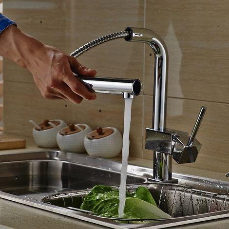 Auralum Ausziehbar Wassserhahn Küche Armatur | 90°Schwenkbar Küchenarmatur mit herausziehbarem Brause | Chrom Spültischarmatur Einhebelmischer Mischbatterie