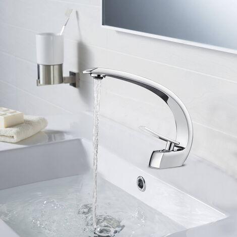 Auralum Badzimmer Waschtischarmatur Mischbatterie Bad Armatur Einhebelmischer Waschbeckenarmatur,Chrom
