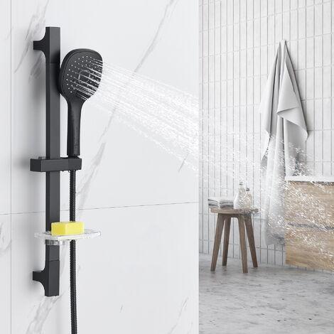 Auralum Barre de douche Noir (Sans Robinet) + 3 Jets Douchette Hauteur Réglable avec Porte-savon transparent Peut pour baignoire