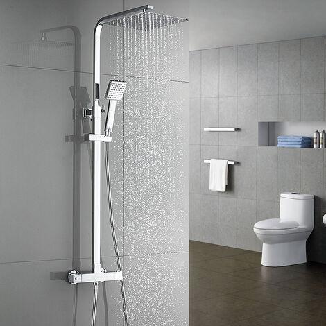 Auralum Chrom Duscharmatur Duschset Kupfer Duschsystem mit Regendusche und Handbrause