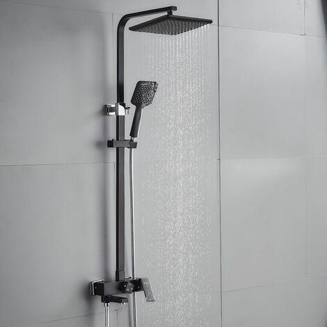 Auralum Colonne de douche 3 Fonctions l'eau de sortie Carré noir classique