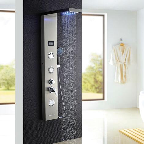 auralum colonne de douche hydromassante led panneau de douche en acier inox bross avec 3 jets. Black Bedroom Furniture Sets. Home Design Ideas